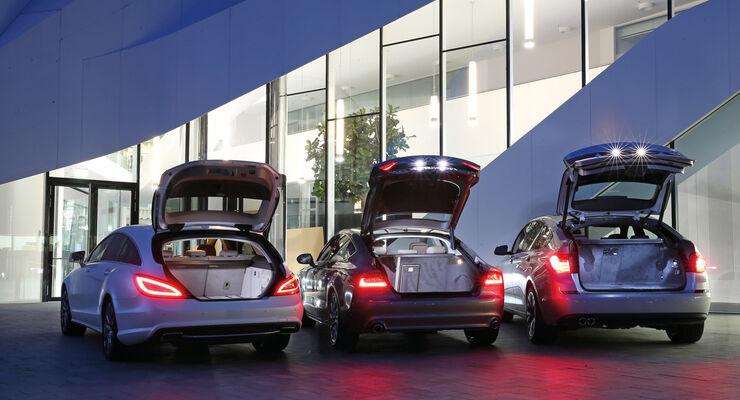 Audi A7 Sportback, BMW Fünfer GT, Mercedes CLS Shooting Brake, Heckklappe
