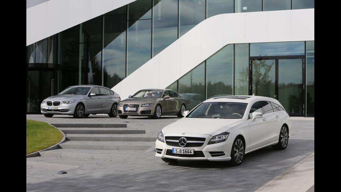Audi A7 Sportback, BMW Fünfer GT, Mercedes CLS Shooting Brake, Seitenansicht