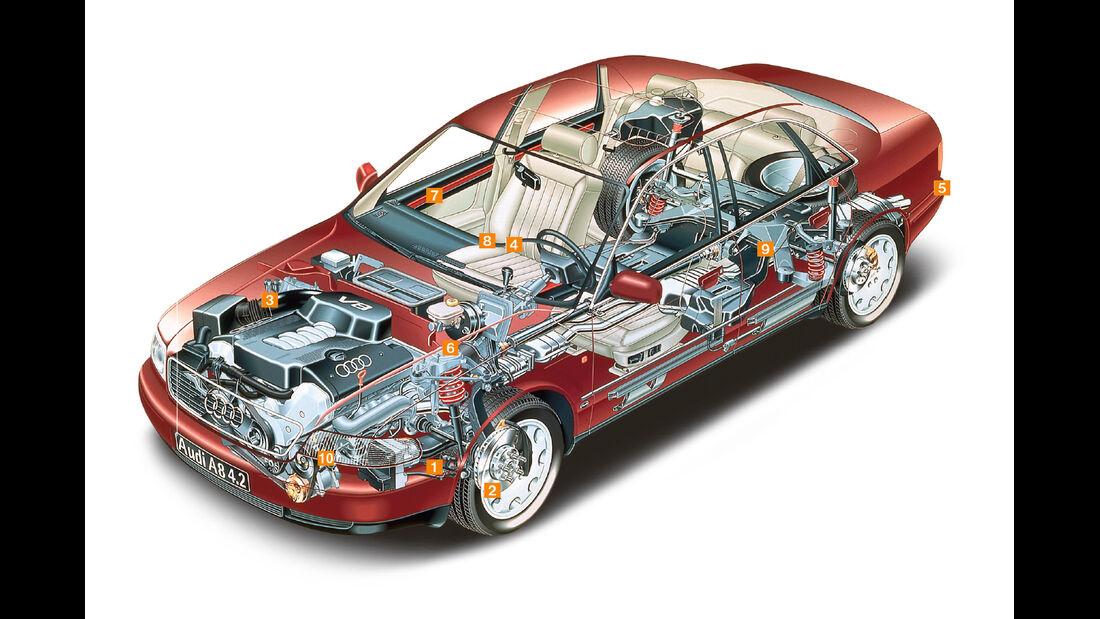 Audi A8 2.8, Schwachstellen, Igelbild
