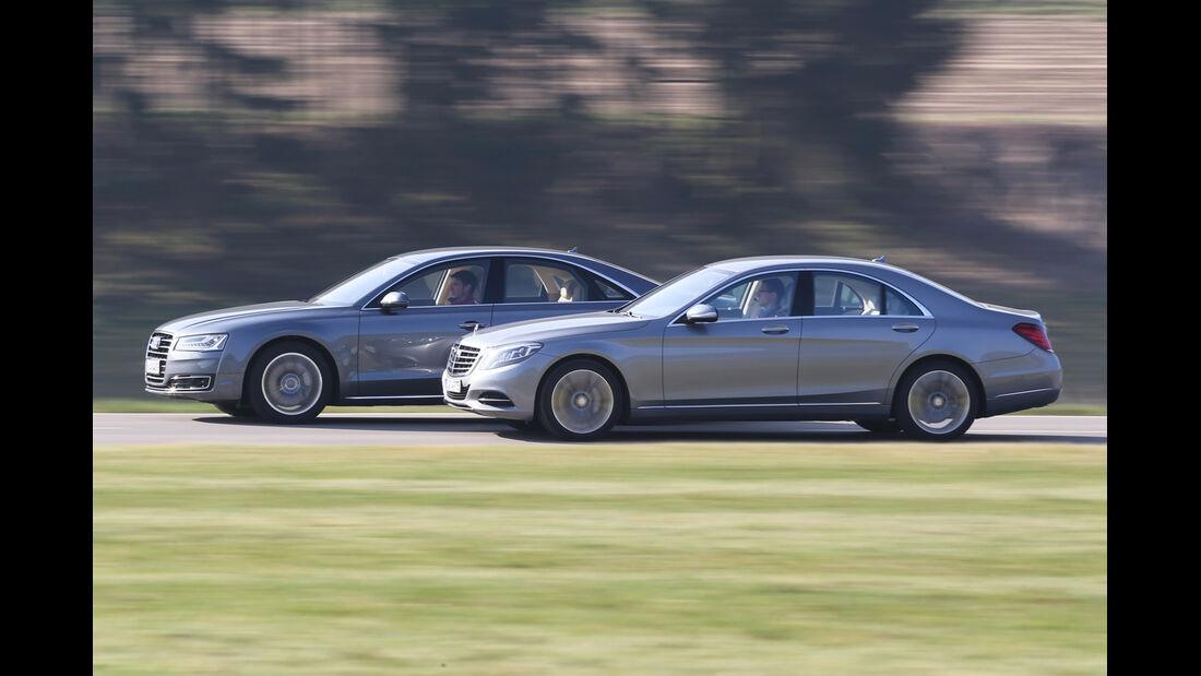 Audi A8 3.0 TDI Clean Diesel, Mercedes S 350 Bluetec, Seitenansicht