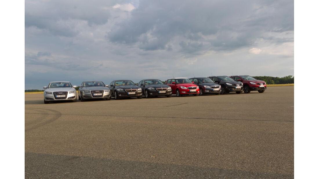 Audi A8 4.2 FSI, Audi A8 4.2 TDI, BMW 535i, BMW 535d, Nissan Qashqai 2.0, Nissan Qashqai 2.0dCi, Skoda Fabia 1.2 TSI, Skoda Fabia 1.2 TDI, alle Fahrzeuge, Frontansicht