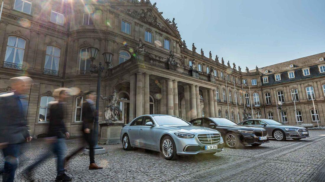 Audi A8 60 TFSI e, BMW 745e, Mercedes S 500