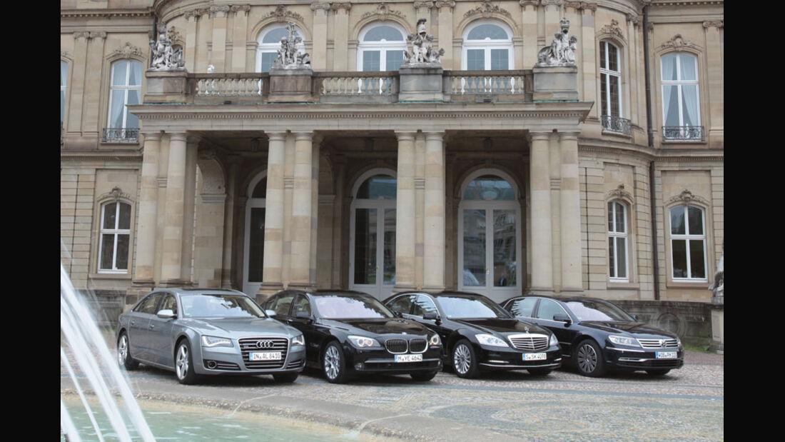 Audi A8, BMW 7er, Mercedes S-Klasse, VW Phaeton