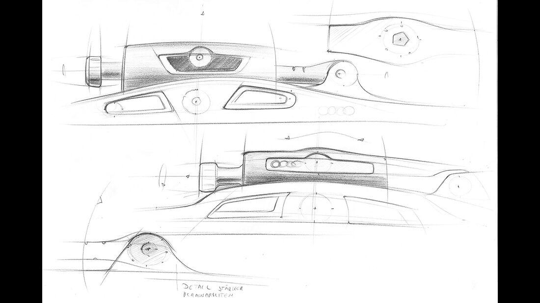 Audi-Accessoires, Designzeichnung, Ski