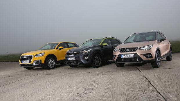 Audi Q2 1.0 TFSI Sport, Kia Stonic 1.0 T-GDI Spirit, Seat Arona 1.0 TSI Xcellence, Exterieur