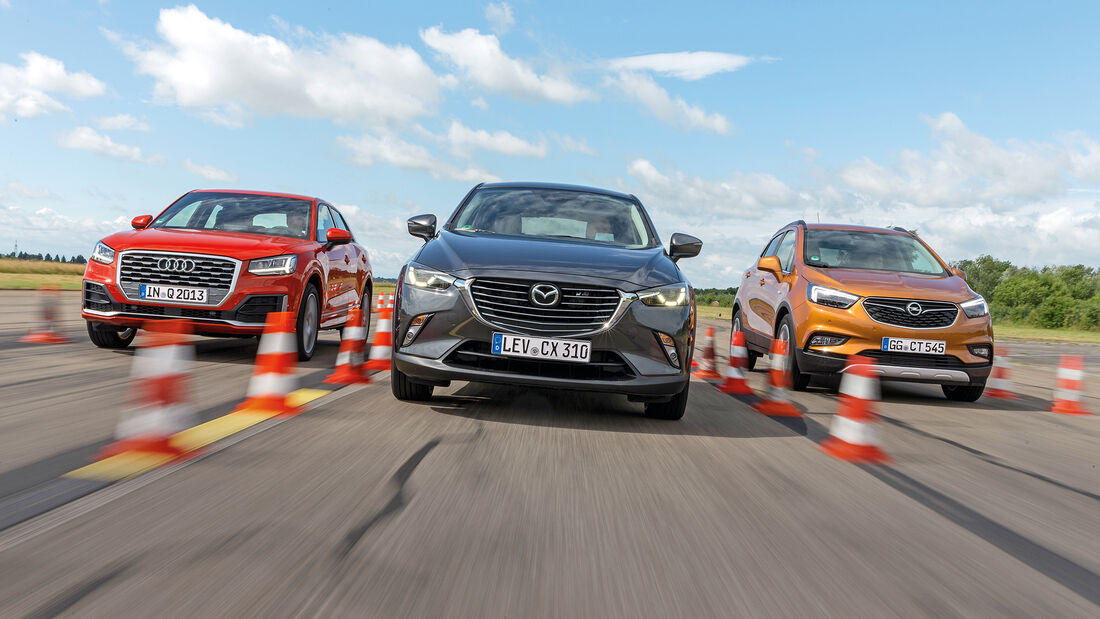 Audi Q2 1.4 TSI (GA), Opel Mokka X 1.4 Turbo(J-A), Mazda CX-3 G 150 AWD (DJ1), Front
