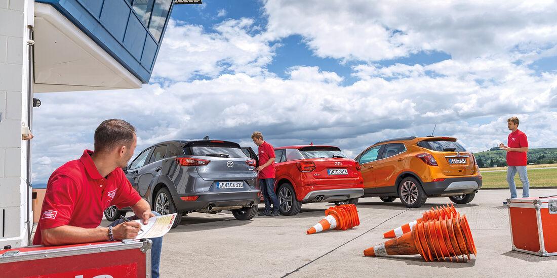 Audi Q2 1.4 TSI (GA), Opel Mokka X 1.4 Turbo(J-A), Mazda CX-3 G 150 AWD (DJ1), Heck
