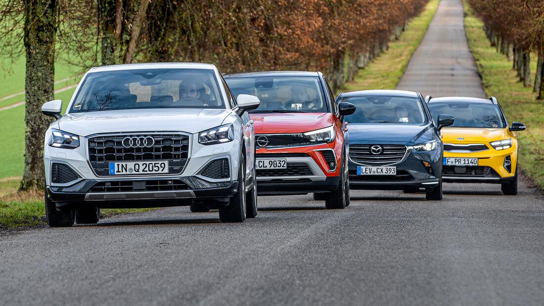 Audi Q2, Kia Stonic, Mazda CX-3, Opel Crossland, Exterieur