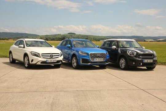 Audi Q2, Mercedes GLA, Mini Countryman, Frontansicht