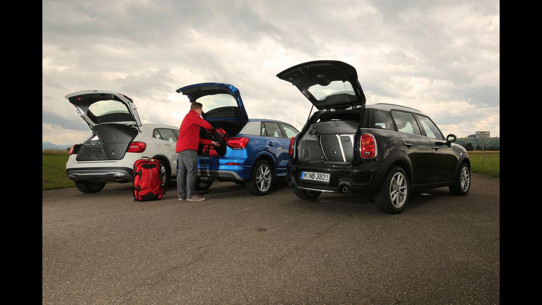 Audi Q2, Mercedes GLA, Mini Countryman, Heckklappe