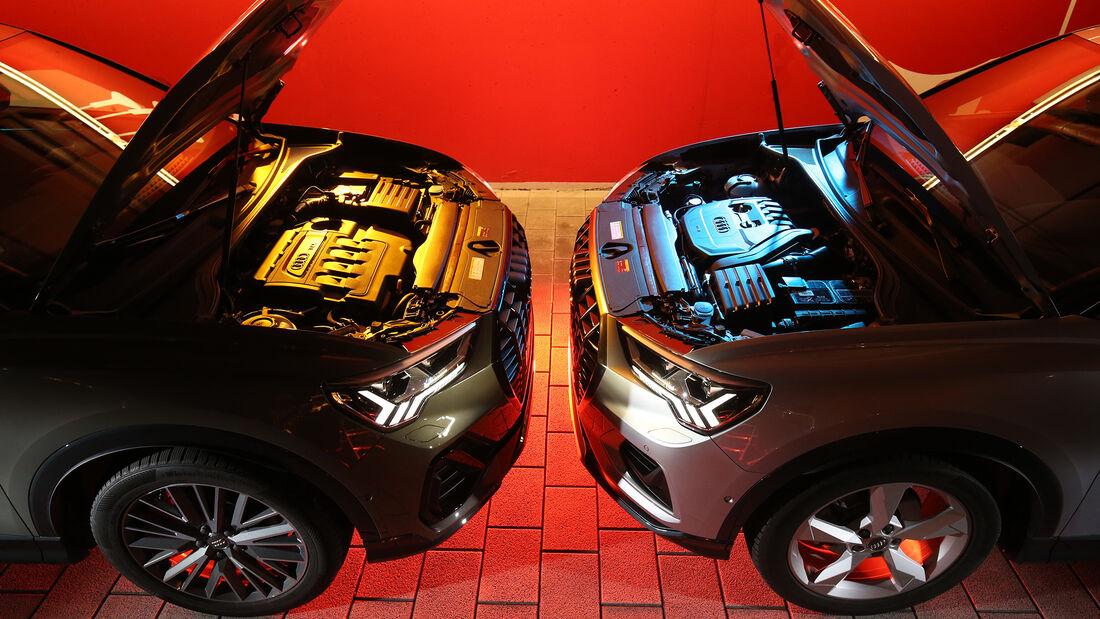 Audi Q3 35 TDI Quattro S line, Audi Q3 35 TSFI Advanced, Motorraum