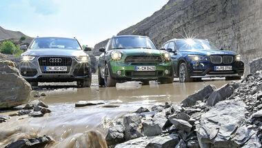 Audi Q3, BMW X1, Mini Countryman, Frontansicht