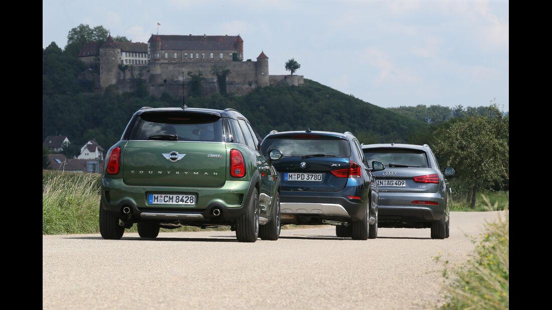 Audi Q3, BMW X1, Mini Countryman, Heckansicht