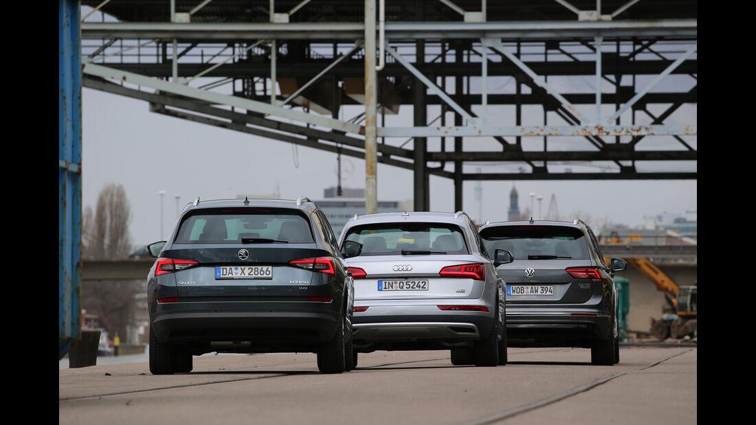 Audi Q5 2.0 TDI Quattro, Skoda Kodiaq 2.0 TDI 4x4, VW Tiguan 2.0 TDI 4Motion