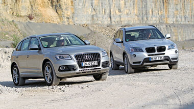 Audi Q5 2.0 TFSI Quattro, BMW X3 x-Drive 28i, Frontansicht
