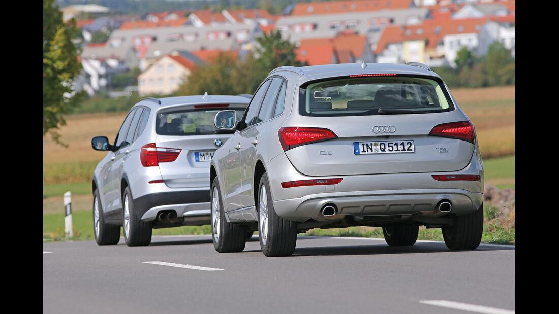 Audi Q5 2.0 TFSI Quattro, BMW X3 x-Drive 28i, Heckansicht