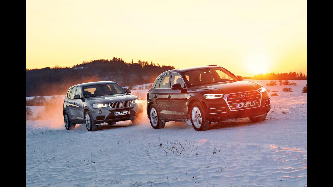 Audi Q5 2.0 TFSI Quattro, BMW X3 xDrive 28i, Frontansicht