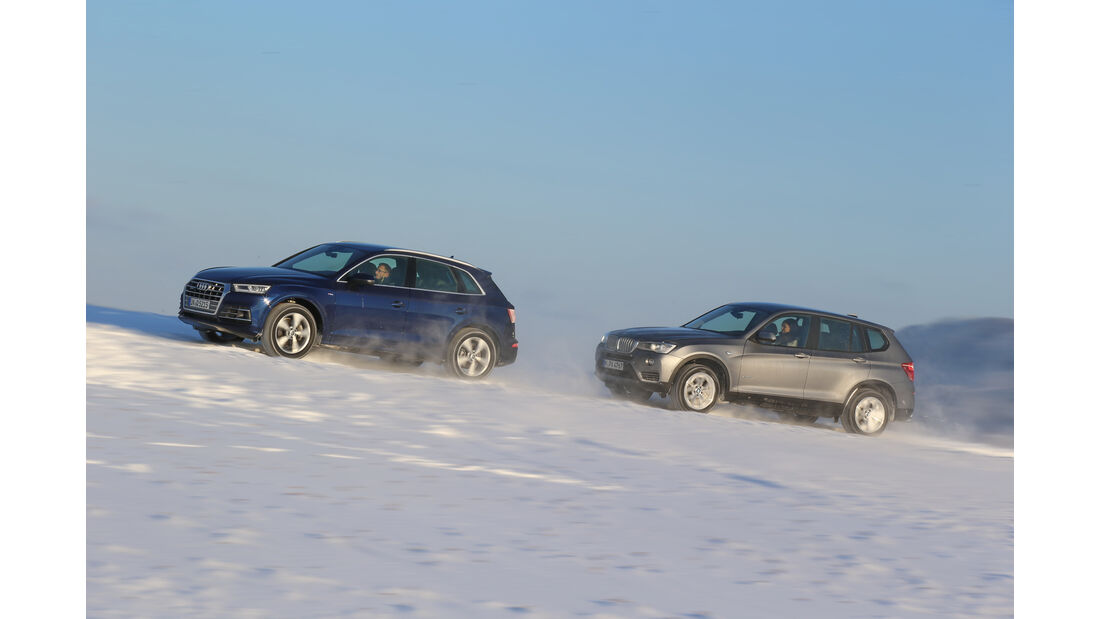 Audi Q5 2.0 TFSI Quattro, BMW X3 xDrive 28i, Seitenansicht