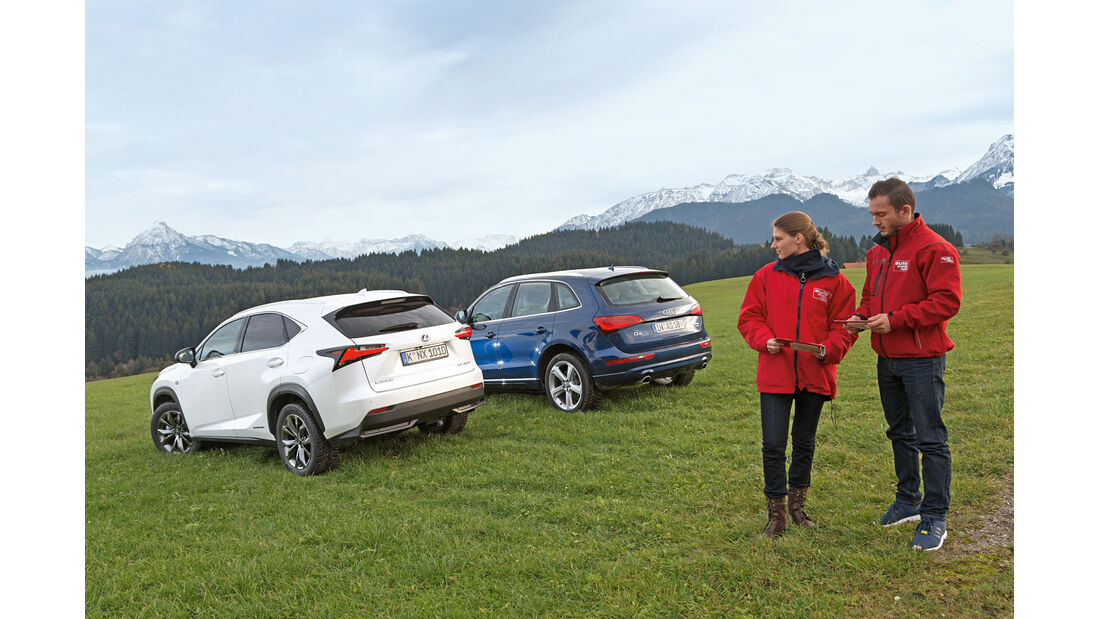 Audi Q5 2.0 TFSI Quattro, Lexus NX 300h E-Four F SPORT, Heckansicht