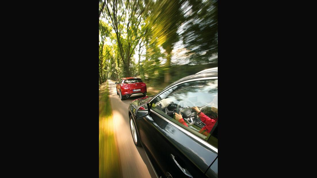 Audi Q5 2.0 TFSI Quattro Seite, Alfa Romeo Stelvio 2.0 Turbo Q4 Heck