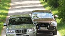 Audi Q5 3.0 TDI Quattro, BMW X3 x-Drive 30d, beide Fahrzeuge, Frontansicht