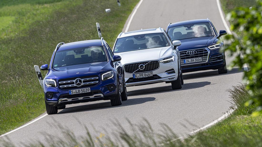 Audi Q5 45 TFSI Quattro Sport, Mercedes GLB 250 4matic Progressive, Volvo XC60 Bs AWD Inscription, Exterieur