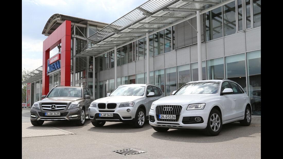 Audi Q5, BMW X3, Mercedes GLK, Frontansicht