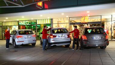 Audi Q5, BMW X3, Mercedes GLK, Heckansicht