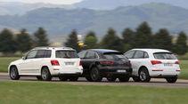 Audi Q5, Mercedes GLK, Porsche Macan, Heckansicht