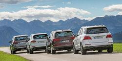 Audi Q7, BMW X5, Mercedes GLE, Porsche Cayenne