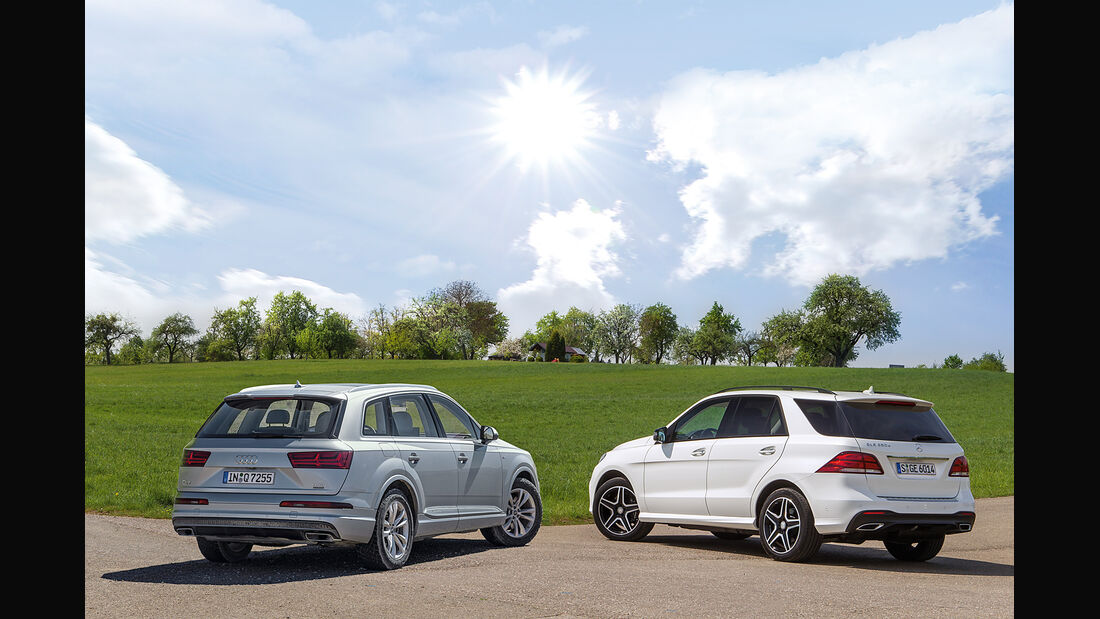 Audi Q7, Mercedes GLE, Heckansicht