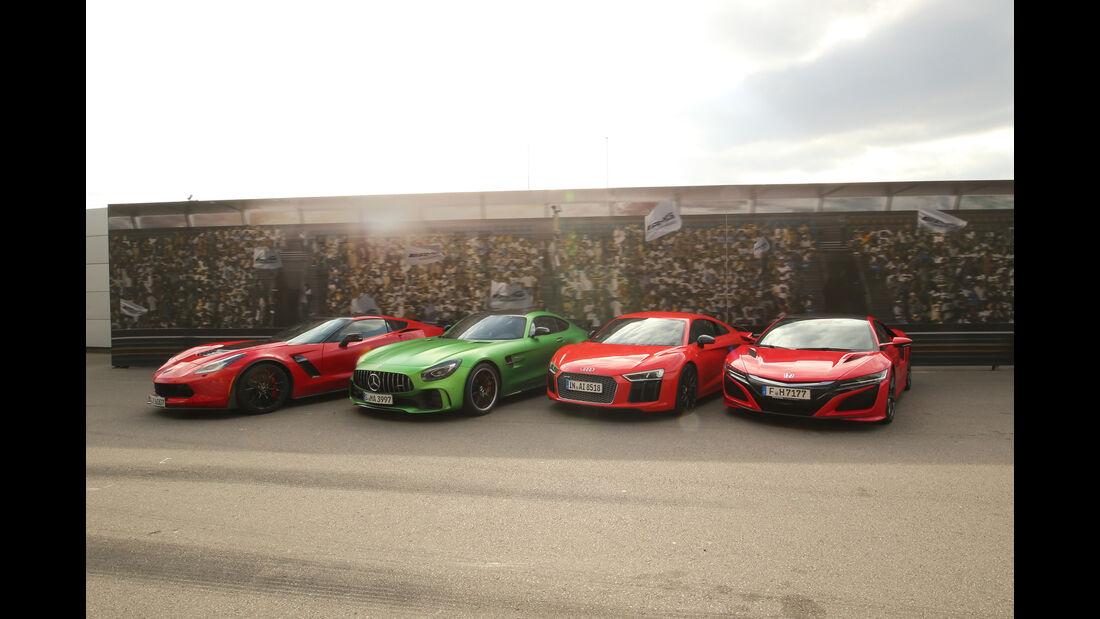 Audi R8 5.2 FSI Quattro Plus, Chevrolet Corvette Z06 Z07 Performance, Honda NSX, Mercedes-AMG GT R
