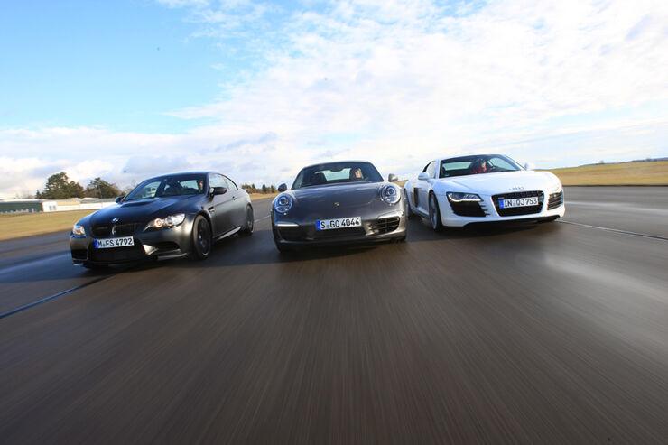 Audi R8, BMW M3, Porsche 911