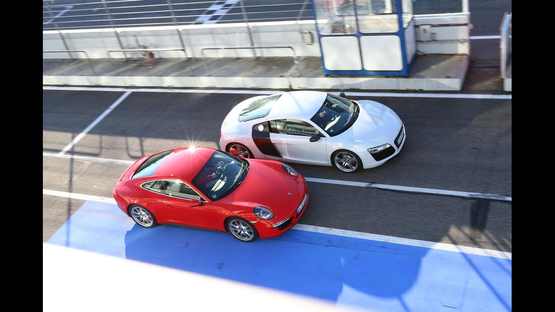 Audi R8 FSI Quattro, Porsche 911 Carrera 4S, Draufsicht