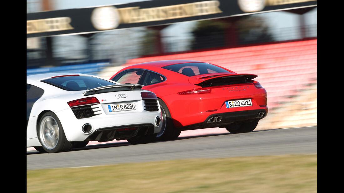 Audi R8 FSI Quattro, Porsche 911 Carrera 4S, Heckansicht, Heckspoiler