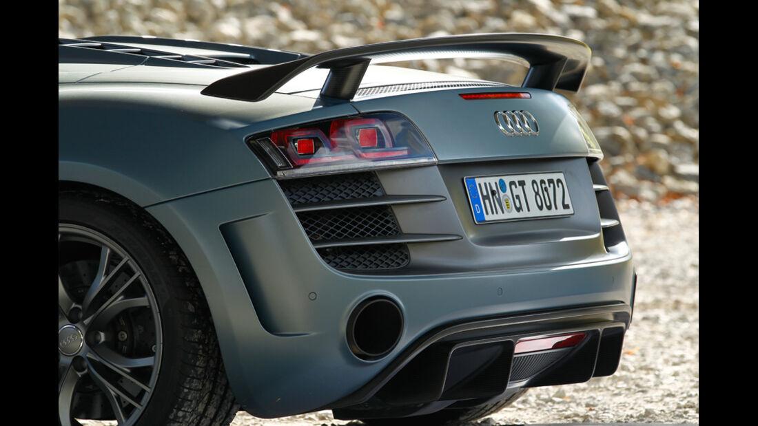 Audi R8 GT Spyder, Heckspoiler, Auspuff