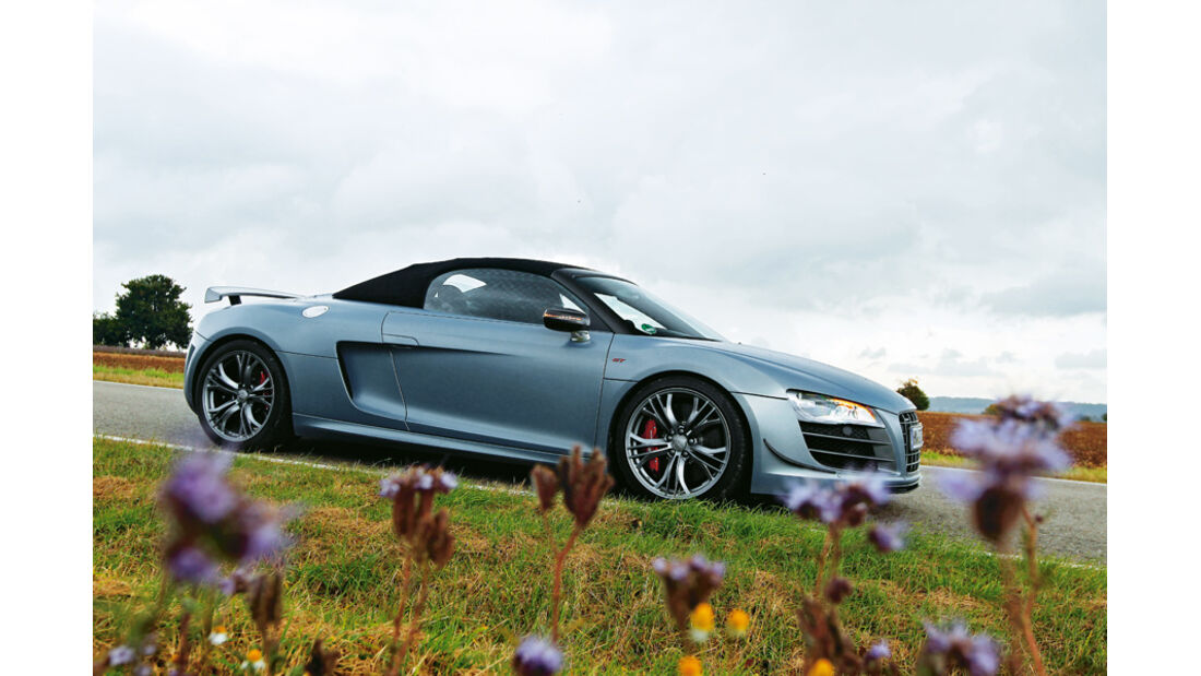 Audi R8 GT Spyder, Seitenansicht, Dach öffnen