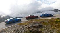 Audi R8 LMX, Nissan GT-R, Porsche 911 Turbo S, Seitenansicht