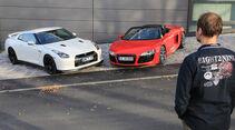 Audi R8 Spyder 5.2 FSI Quattro, Nissan GT-R, Frontansicht