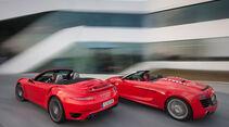 Audi R8 Spyder 5.2 FSI Quattro, Porsche 911 Turbo Cabriolet, Heckansicht