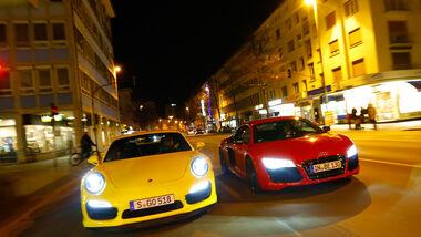 Audi R8 V10 5.2 FSI Quattro, Porsche 911 Turbo, Frontansicht