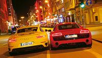 Audi R8 V10 5.2 FSI Quattro, Porsche 911 Turbo, Heckansicht