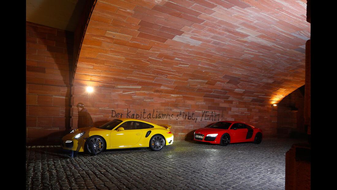 Audi R8 V10 5.2 FSI Quattro, Porsche 911 Turbo, Seitenansicht