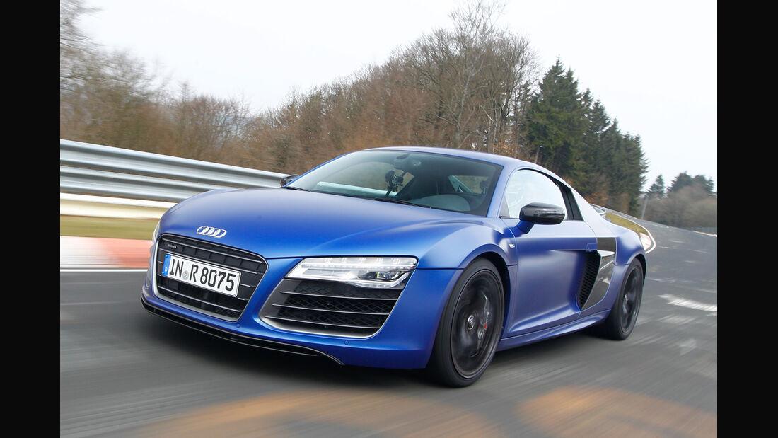 Audi R8 V10 plus 5.2 FSI, Frontansicht, Seitenführung