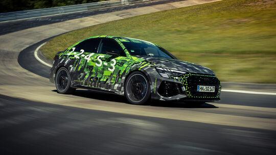 Audi RS 3 Limousine bei der Rekordfahrt auf der Nordschleife