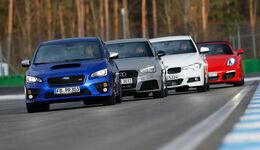 Audi RS 3 Sportback, BMW 335d xDrive, Porsche Boxster, Subaru WRX STI