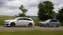 Audi RS 3 Sportback, Mercedes CLA 45 AMG Shooting Brake, Seitenansicht