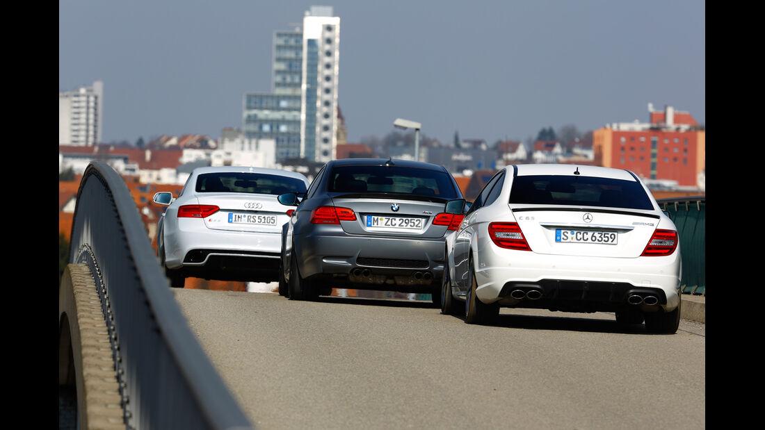 Audi RS 5, BMW M3, Mercedes C 63 AMG, Heckansicht