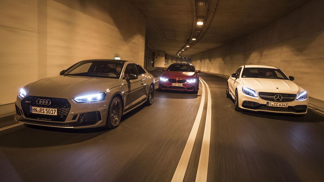 Audi RS 5 Coupé, BMW M4 Competition, Mercedes-AMG C 63 Coupé, Exterieur Front
