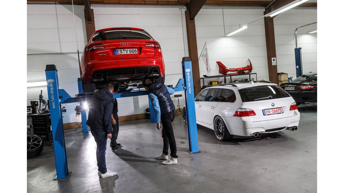 Audi RS 6 Avant, BMW M5 Touring, Werkstatt